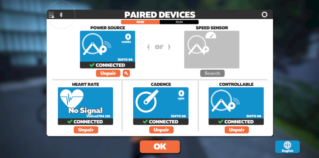 pairing screen in Zwift