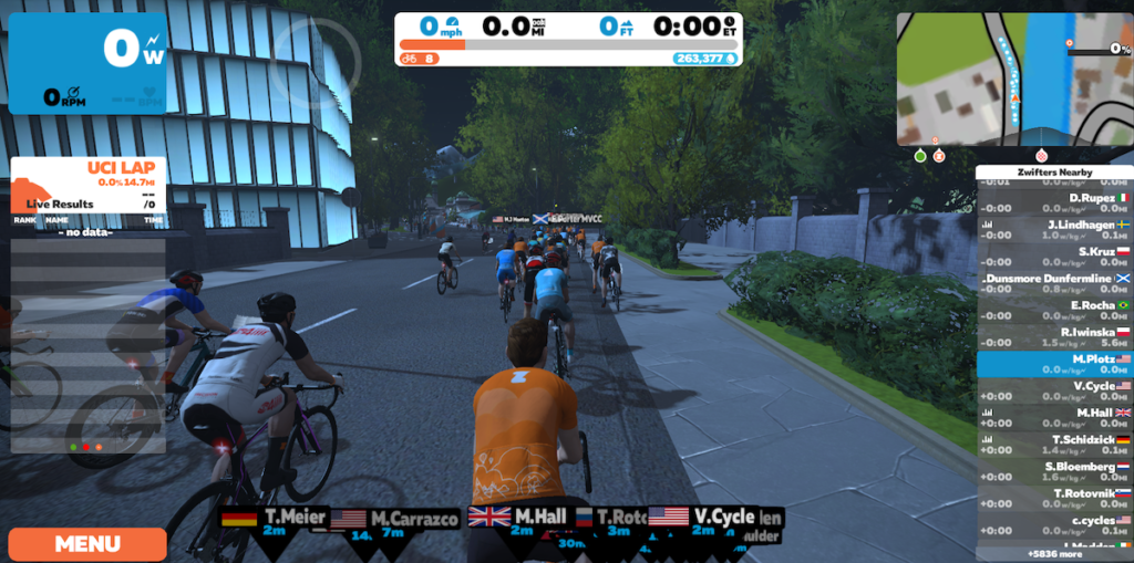 rider screen for zwift