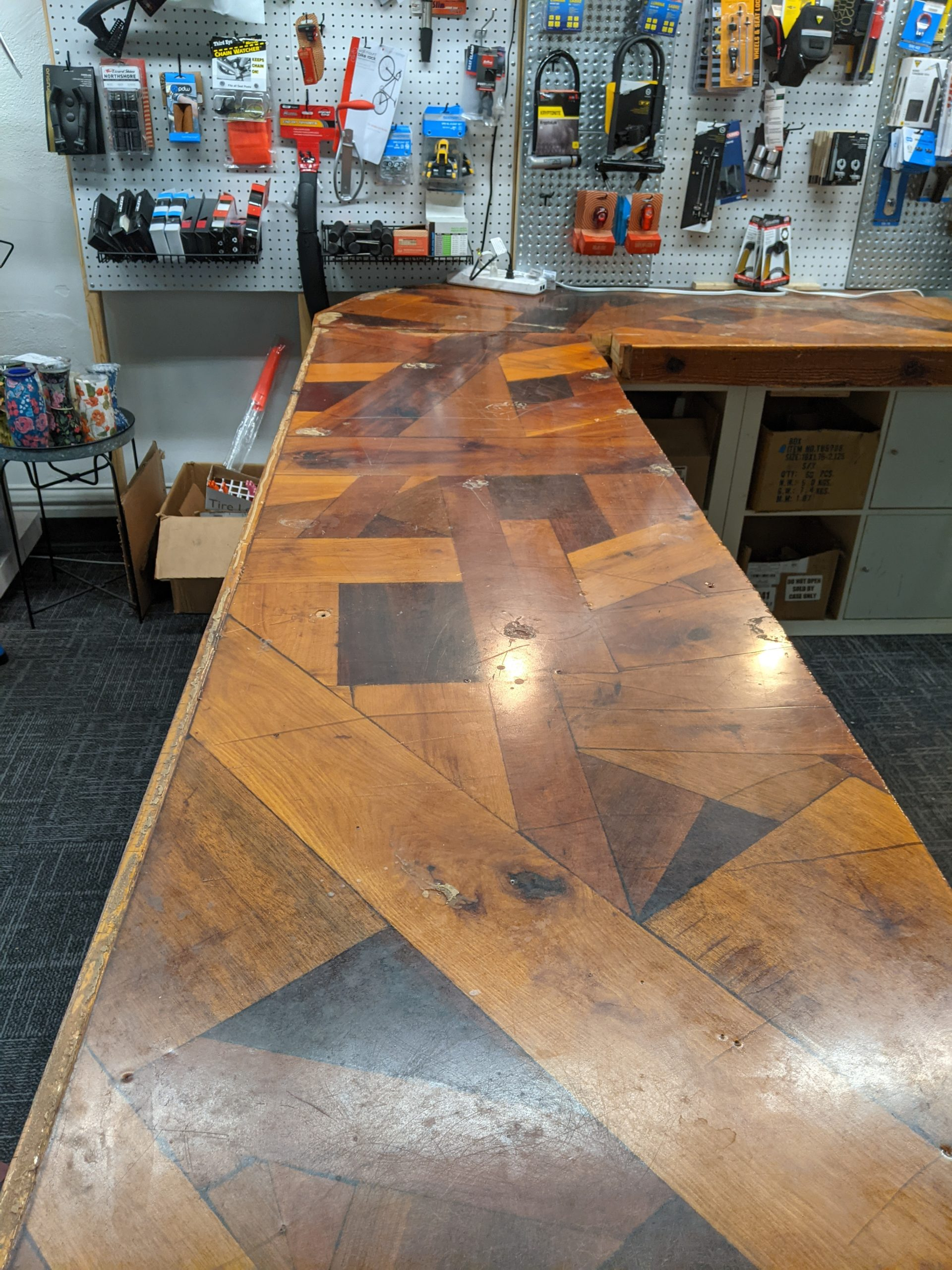 Photo of counter top showing wood pattern